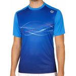 تی شرت تنیس مردانه ویلسون - Wilson M Lsu Soundwave Print Crew Neptune Blue