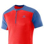 نمای جلو تی شرت ورزشی مردانه سالومون - Salomon Minim Evac Zip Tee M Matador-X/Midnbl