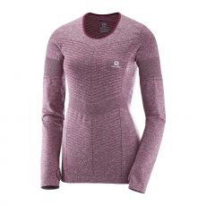پیراهن ورزشی زنانه سالومون - Salomon Elevate Seamless Ls Tee W Fig Heather